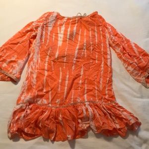 Tie dye coral tassel cover up